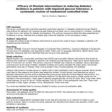 Eficacia de intervenciones en el estilo de vida en la reducción de la  incidencia de diabetes en pacientes con intolerancia oral a la  glucosa: revisión sistemática de ensayos controlados aleatorizados –  lectura crítica DARE