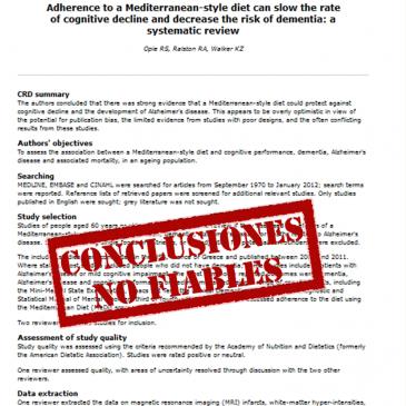 La adherencia a la dieta Mediterránea puede enlentecer la tasa de detrimento cognitivo y reducir el riesgo de demencia – revisión sistemática: lectura crítica DARE