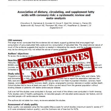 Asociación entre ácidos grasos procedentes de la dieta, circulantes y suplementos de ácidos grasos con el riesgo coronario – revisión sistemática y meta-análisis: lectura crítica DARE