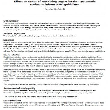 Efectos de la restrición en la ingesta de azúcares sobre la caries: revisión sistemática para informar a las guías de la OMS: Lectura crítica DARE