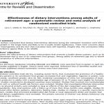 Efectividad de la intervención dietética en adultos en edad de jubilación: revisión sistemática y meta-análisis de ensayos controlados aleatorios – lectura crítica DARE