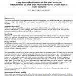 Efectividad a largo plazo de Intervenciones dietéticas con ejercicio vs. Intervenciones únicamente dietéticas para la pérdida de peso: lectura crítica DARE de un metaanálisis