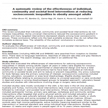 Revisión sistemática de la efectividad de las intervenciones a nivel individual, comunitario y en la sociedad para reducir las desigualdades socioeconómicas en la obesidad entre adultos: Lectura crítica DARE