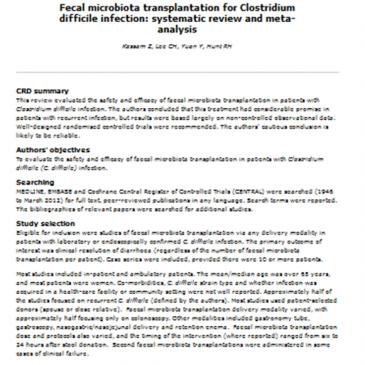 Trasplante de microbiota fecal en la infección por Clostridium difficile – revisión sistemática y meta-análisis: lectura crítica DARE