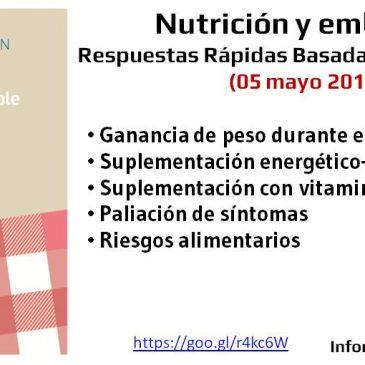 Nutrición y embarazo: respuestas rápidas informadas por la evidencia (2017)