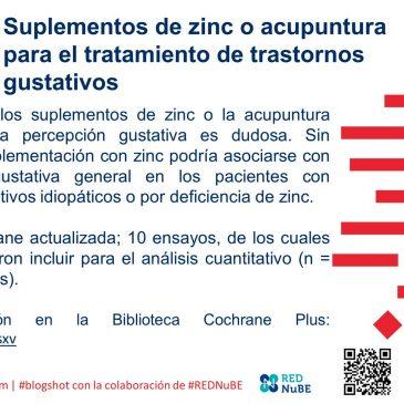 ¿Suplementos de zinc para el tratamiento de trastornos gustativos?